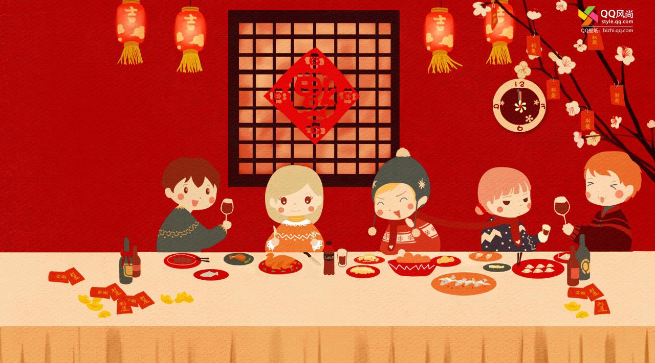 儿春节手绘图片